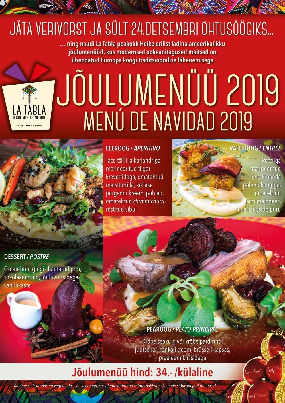 La Tabla jõulumenüü 2019
